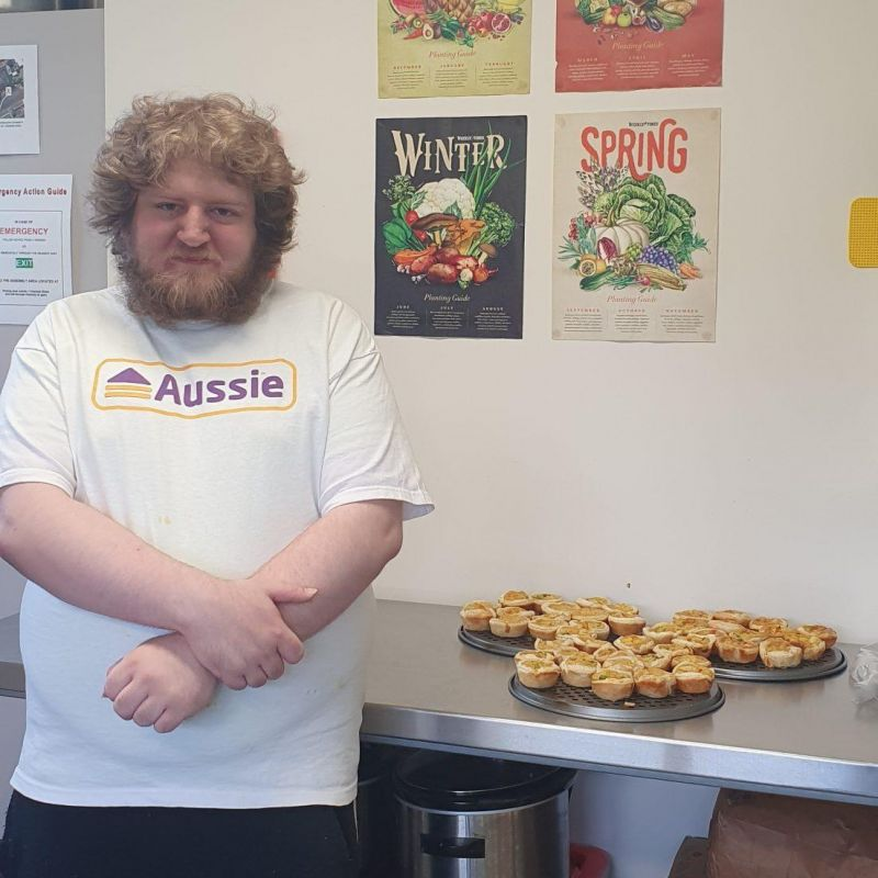 Travis with his curried crab quiches